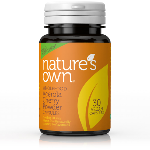 NATURE'S OWN - Cherry-C:Vit C from Acerola Cherries. Low acidity 200mg 30 veg caps