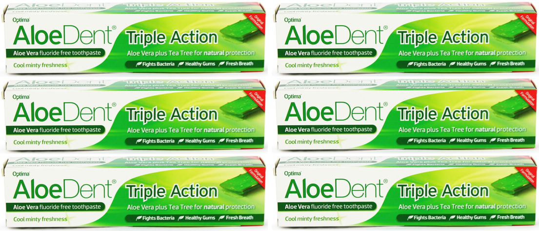 Aloe Dent - Original Triple Action Toothpaste - Fluoride Free - 100ml (6 pack)