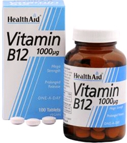 Health aid - Vitamin B12 (Cyanocobalamin) 1000µg - Prolonged Release (100 tablets)