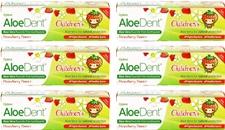 AloeDent Cool Strawberry Children's Toothpaste + Co Q 10, Tea Tree & Silica - 50ml (6 pack)