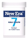 Kali Sulph No. 7 ( 240 Tablets ) For Skin condition; skin eruptions with scaling or sticky exudations; falling hair; diseased nails; catarrh.
